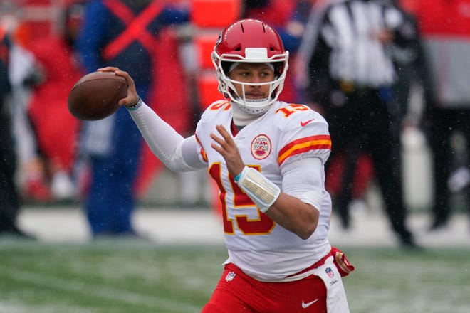 Chiefs quarterback Patrick Mahomes throws a pass against the Broncos earlier this season. Mahomes was being considered by the New Orleans Saints, this week's opponent, in the 2017 NFL draft.