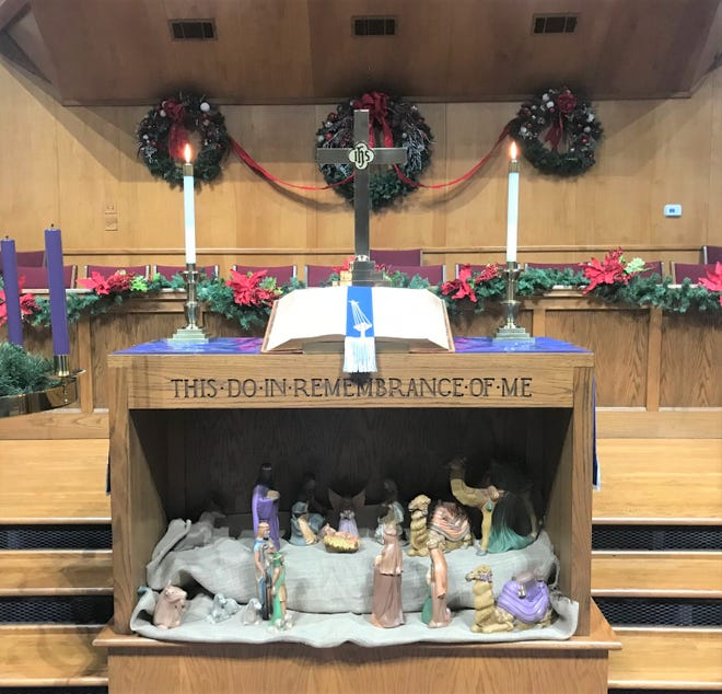 The beautifully decorated VUMC Sanctuary will serve as the appropriate backdrop for this year's Christmas Eve Service on live stream.