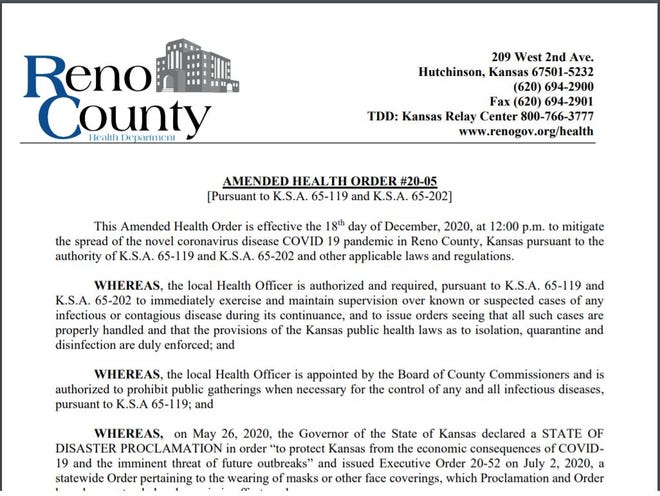 Amended County Health Order