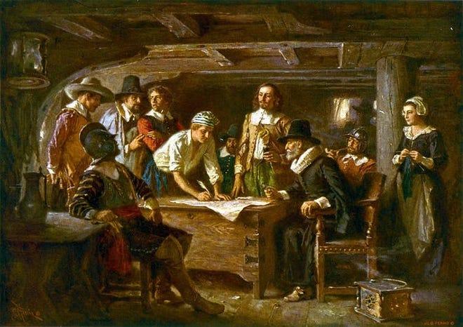 "Jean Leon Gerome Ferris' ""The Mayflower Compact, 1620."""