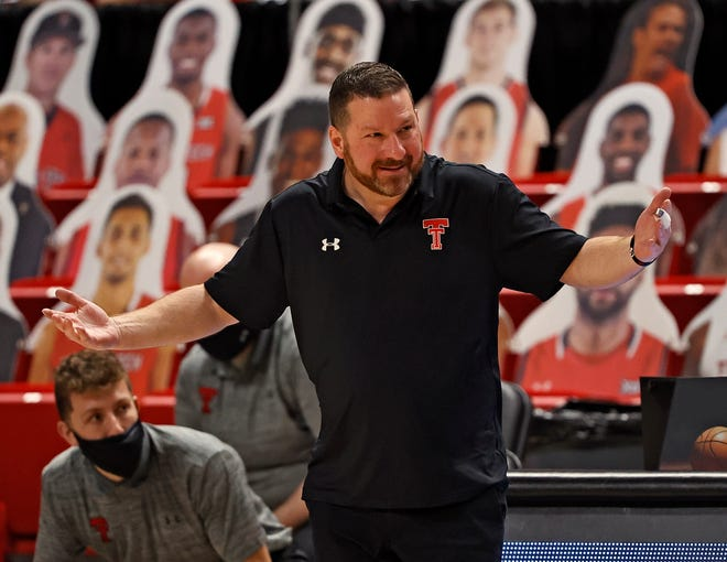 Texas Tech coach Chris Beard reacts to a call during the first half of an NCAA college basketball game against Kansas, Thursday, Dec. 17, 2020, at United Supermarkets Arena in Lubbock, Texas.
