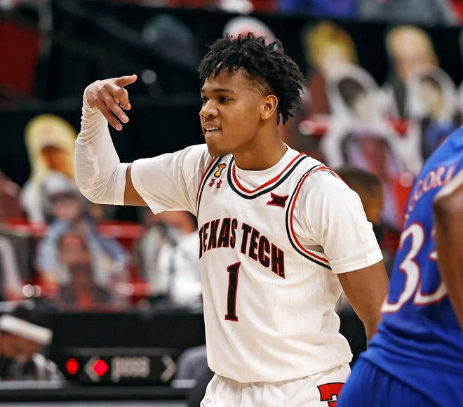 Texas Tech's Terrence Shannon Jr. (1) reacts after scoring a three-point shot during the second half of a Big 12 Conference game Dec. 17 against then-No. 5 Kansas at United Supermarkets Arena. Shannon finished with 20 points in the 58-57 loss to the Jayhawks.