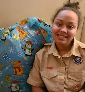 Emily Hayner, 17, a charter member of Boy Scout Troop 7012 in Leominster, is looking to become the troop's first female Eagle Scout.
