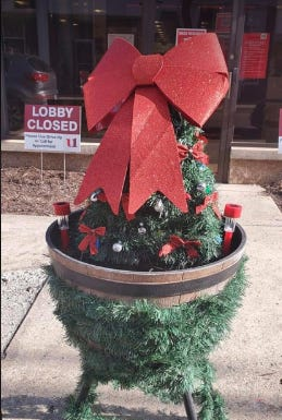 Spearheaded by Piedmont resident Donni Clay, businesses and individuals decked out the town's planters for the holidays.
