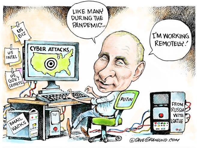 Dave Granlund cartoon on cyber attacks