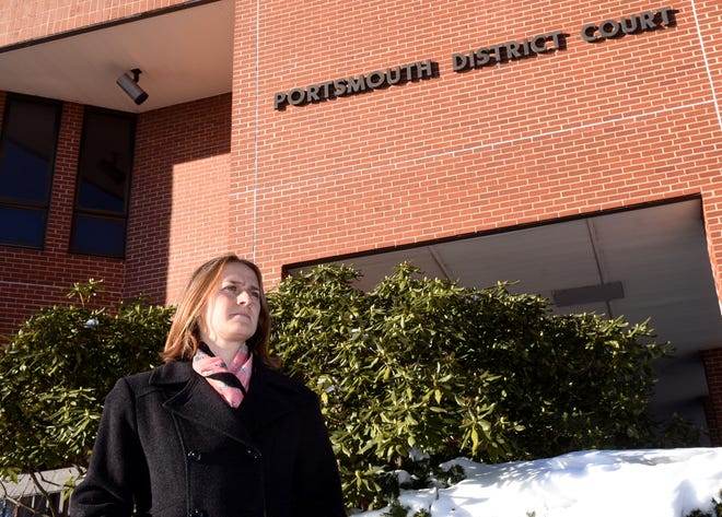 """Marta Hurgin, a staff attorney at the New Hampshire Legal Advice and Referral Center seen outside Portsmouth District Court Friday, Dec. 18, 2020, says some landlords are """"trying to skirt the spirit of the moratorium"""" on evictions."""