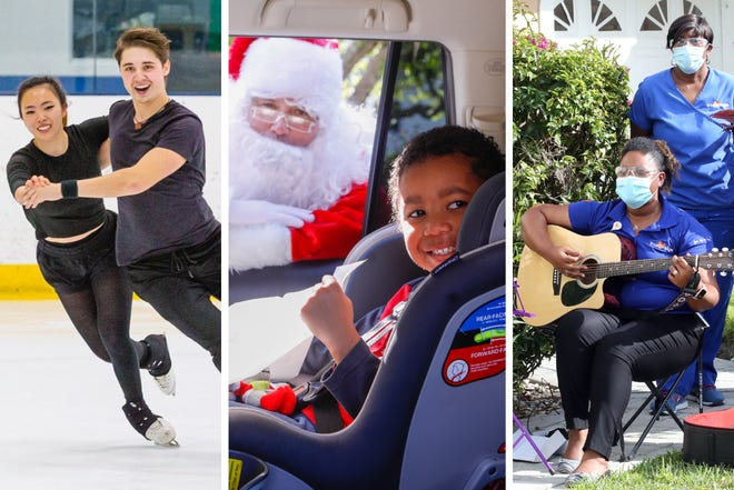 "We want to hear your stories about the good in 2020. (Photo 1: Maxine Weatherby (19) and Temirlan Yerzhanov (24) from Boca Raton practice their ice dancing routine. [JOSEPH FORZANO] / Photo 2: Daniel Macklin, 5, of Palm Beach Gardens smiles as Santa peers through his car window on the grounds of the Society of the Four Arts. [DAMON HIGGINS] / Photo 3: Employees of Trustbridge Hospice sing ""Happy Birthday"" to a veteran on his 100th Birthday. [TIM STEPIEN])"