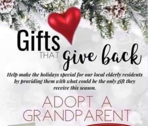 Adopt a Senior for Christmas at the Pratt Public Library or at the Pratt Health and Rehab Center.