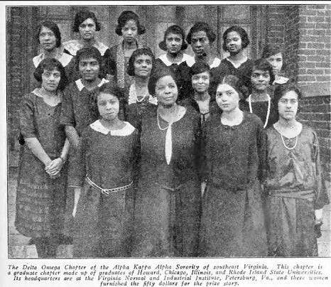The Delta Omega Chapter of Alpha Kappa Alpha's founding members in 1921. Members were graduates of Howard, Chicago, Illinois, and Rhode Island State universities.
