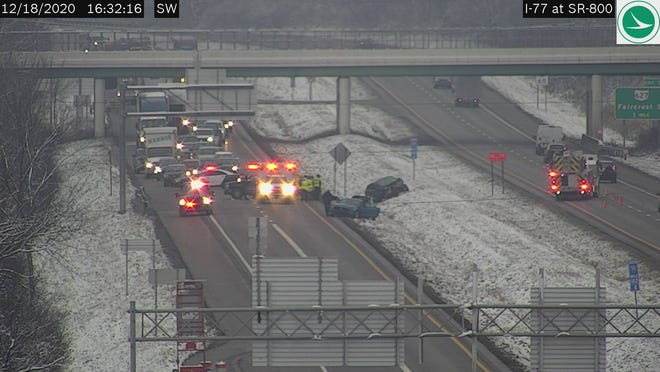 A crash has closed I-77 north at state route 800 around 4:30 p.m. Friday.