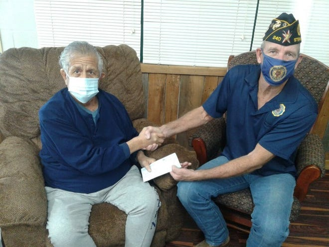 Paul Dominguez, left, is pictured with Stephenville American Legion Post 240's Sid Moon.