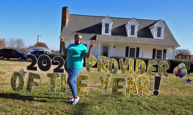 Annette Samuels shows off her yard sign announcing Phenomenal Kids Childcare Services as a 2020 Provider of the Year. Samuels' child care center is located on Bethlehem Road in Kings Mountain.