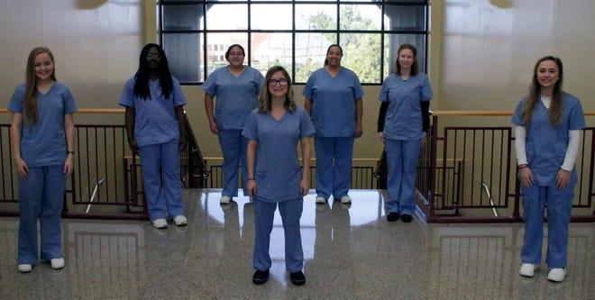 Emily Jones, Cayla Holland, Alethia Wagner, Destiny Turner, April Pennington, Hailey Barbour, Melissa Deardorff graduated from the Tuesday nurses aide class at CCC
