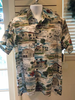 "The men's version of a tropical shirt that depicts ""Lost Buildings of Venice"" is available through the Venice Museum and Venice Heritage."