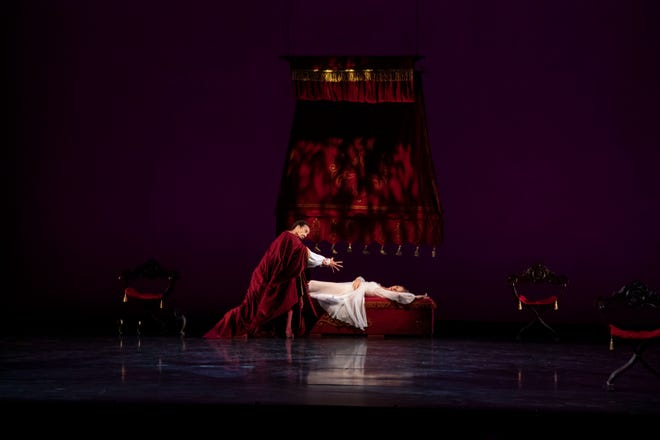 """Ricardo Rhodes and Danielle Brown in a moment from Peter Darrell's """"Othello,"""" a one-act ballet featured in The Sarasota Ballet's third digital program of the season."""