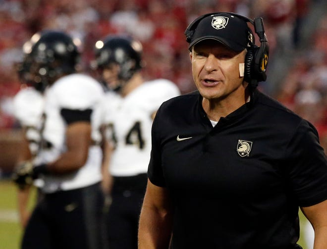 Army head coach Jeff Monken watches from the sideline during a 2018 game against Oklahoma in Norman, Okla. [SUE OGROCKI/FILE, THE ASSOCIATED PRESS]