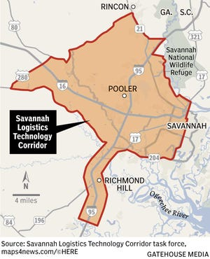 The Savannah Logistics Technology Corridor designation creates a geographically defined area, where businesses can locate and be close enough to each other to encourage collaboration and innovation.The corridor's boundaries cover a portion of Interstates 95 and 16, the Savannah River and Highway 17.