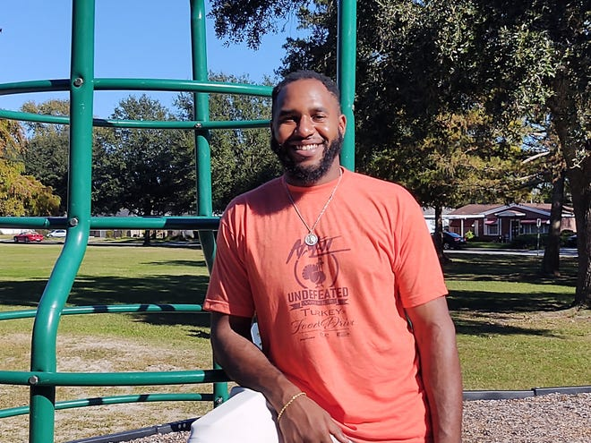 Savannah native Anthony Lanier in the park across the street from the Historic Carver Village Community Center on Nov. 21, 2020.