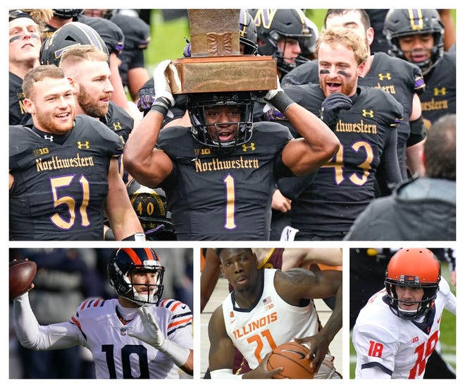 Northwestern running back Jesse Brown holds the Land of Lincoln trophy, won last week en route to this weekend's Big Ten championship against Ohio State. Below: Bears quarterback Mitchell Trubisky, Illinois center Kofi Cockburn and Illinois quarterback Brandon Peters. (Photos by Nam Y. Huh and Holly Hart of The Associated Press)
