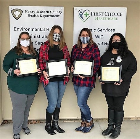 The Henry and Stark County Health Department and their First Choice Healthcare Clinics recently announced their 2020 Employee Service Award recipients.  Pictured (from l to r): Tara DeBlieck (5 years); Jennifer Carton (5 Years); Alicia Johnson (5 Years), and Cristina Triana (5 Years).