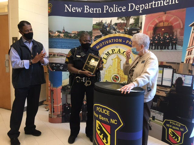 In November as part of its yearly Community Recognition Awards, the New Bern Civitan Club recognized Trisha Fisher as the Police Officer of the year upon being selected by New Bern Police Chief, Toussaint E. Summers, Jr.  She was selected for her outstanding public service.  She has been a Law Enforcement Officer with the department since 2011.  She currently holds the rank of Police Officer Two and is assigned to Patrol Team 4/Operations.  Among other things, Fisher has been a School Resource Officer at New Bern HS, and Grover C. Fields Middle School and was the coordinator for the police department summer camp (PAC-TEAM) and the Autistic Summer Camp and participated with the Project Positive Focus program at the police department.  Fisher says that her goal is to impact many people in a positive way, while being a positive role model. [CONTRIBUTED PHOTO]