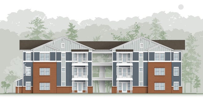 An artist's rendering shows units at the planned Carolina Avenue Apartments affordable housing complex in New Bern. Construction on the $13 million project began last summer, with the first buildings anticipated to be ready in late summer or early fall of 2021.