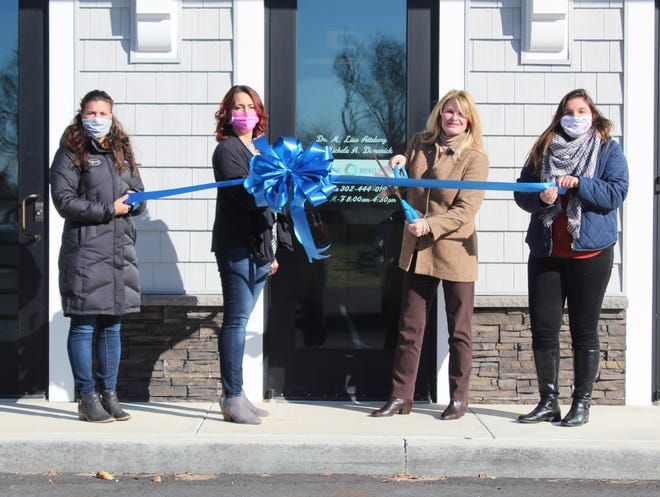 The Rehoboth Beach–Dewey Beach Chamber of Commerce held a ribbon-cutting Dec. 18 celebrating the grand opening of Mary Beth Brubeck, RN's second location of her injectables and skin care practice, 19409 Plantation Road, Second Floor, No. 3, Rehoboth Beach. From left, Sophia Sawicki, RBDBCC; Brenda Ferlenda, practice manager; Mary Beth Brubeck; and Abigail Kaiser, RBDBCC.
