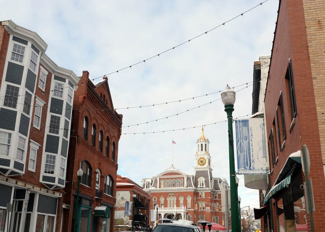 New lights have been strung between buildings in downtown Norwich.