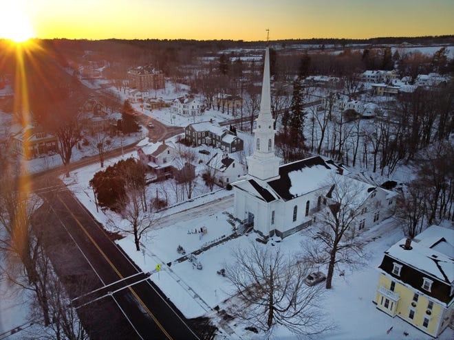 BARRE - A view from the sky of the Congregational Church taken from a drone at sunset on Friday.