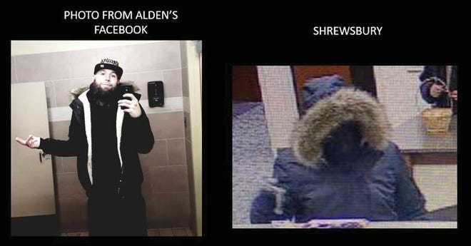 Photo from the FBI affidavit in the case. Authorities allege Matthew Alden, left, wore articles of clothing in Facebook posts he later wore when robbing banks in Central Massachusetts.