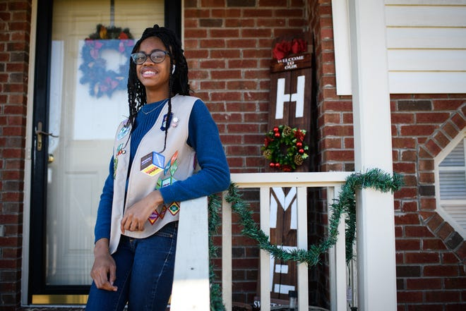 Girl Scout Jasani Smallwood was awarded for her efforts in clothing the homeless.