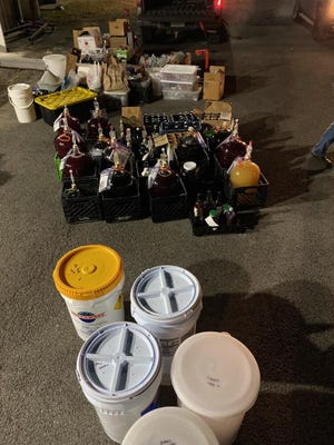 DeKalb County narcotics agents and investigators, acting on a tip, discovered a large illegal winery at the Rainsville Wastewater Treatment Plant Dec. 17, confiscating a large amount of alcohol.