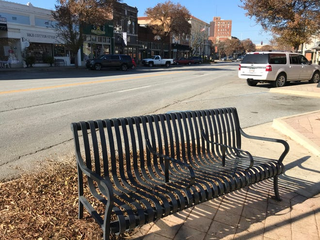 Some benches in high traffic areas of downtown Gadsden have been altered so that people can't lie down on them to sleep, but DGI Executive Director Kay Moore said 24 downtown benches remain  unchanged.