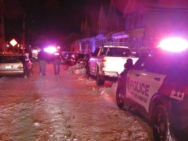 Police respond to Van Buren Street in the City of Kingston around 8 pm. Thursday.