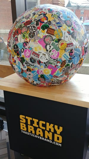 The world record sticker ball, on display at Fletcher Free Library in Burlington.