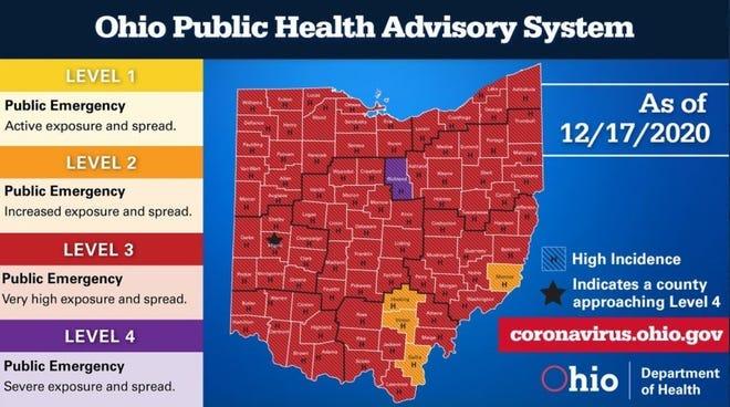 Ohio Public Health Advisory map Dec. 18