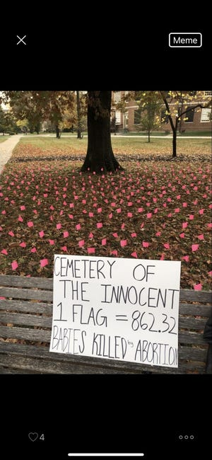 Vandals defaced a pro-life memorial like this one placed on Miami University's campus by the school's Students for Life chapter.