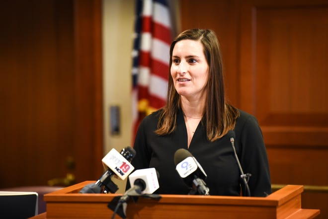Liz Keating accepts the appointment to Cincinnati's City Council by Judge Ralph Winkler.