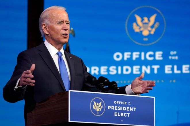 President-elect Joe Biden speaks after the Electoral College formally elected him as president, Monday, Dec. 14, 2020, at The Queen theater in Wilmington, Del. (AP Photo/Patrick Semansky)