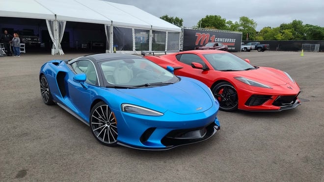 Doppelgangers. The 2020 McLaren GT starts at $213,000, the 2020 Corvette C8 at $60,000. The two cars share some design cues — especially in front.
