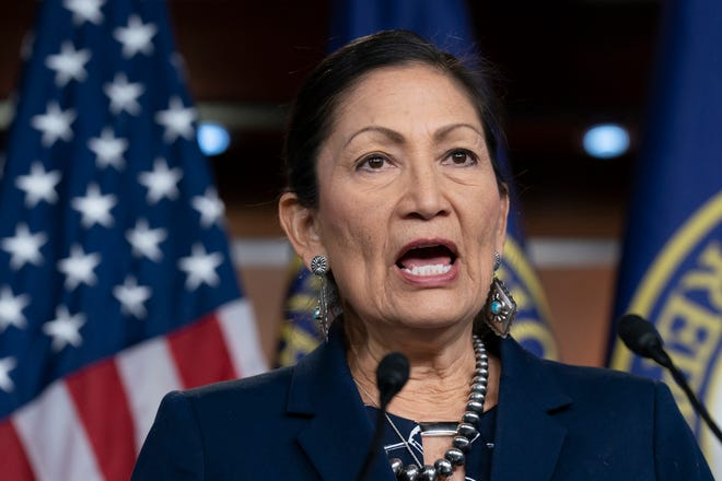 U.S. Rep. Deb Haaland, D-N.M., Native American Caucus co-chair, speaks to reporters on March 5, 2020 on Capitol Hill in Washington. President-elect Joe Biden plans to nominate Haaland as interior secretary. The historic pick would make her the first Native American to lead the powerful federal agency that has wielded influence over the nation's tribes for generations.