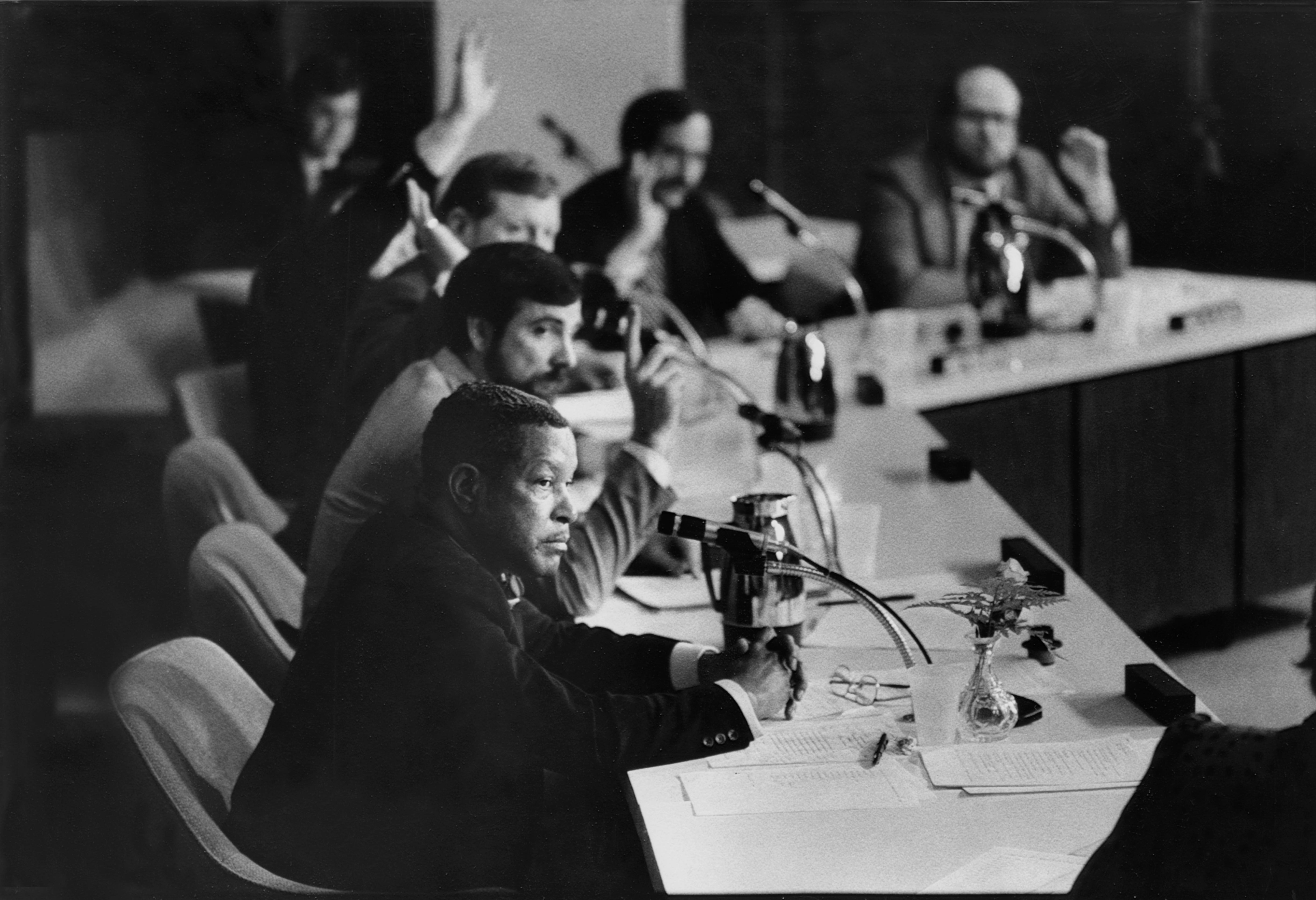The Rev. C. Mackey Daniels, foreground, was the only Jefferson County school board member to vote against the new busing plan in 1984. Daniels wanted the board to defer its vote.