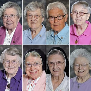 Eight sisters living at the Notre Dame of Elm Grove died of COVID-19 between Dec. 9-14. From top left: Sister Mary Elva Wiesner, Sister Cynthia Borman, Sister Rose M. Feess, Sister Lillia Langreck. From bottom left: Sister Michael Marie Laux, Sister Mary Alexius Portz, Sister Joan Emily Kaul, Sister Dorothy MacIntyre.