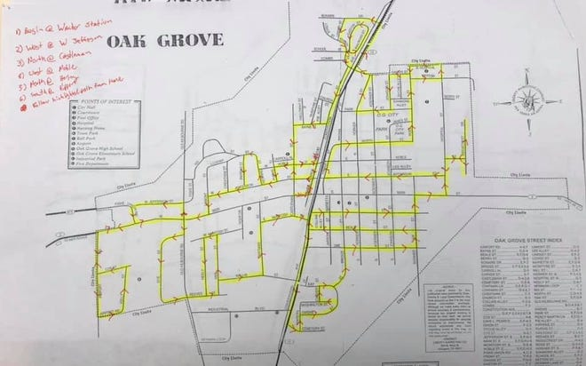The highlighted streets are part of Santa's tour of Oak Grove set for Dec. 23.