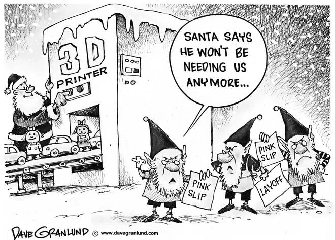 3-D printer puts elves out of work.