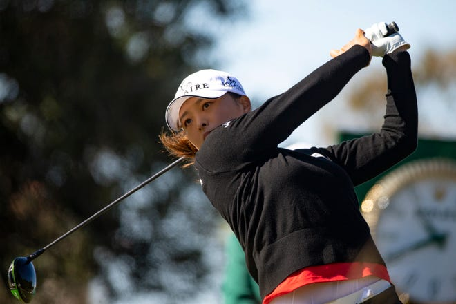 Jin-Young Ko tees off during round two of the CME Group Tour Championships, Friday, Dec. 18, 2020, at the Tiburon Golf Club in North Naples, Florida.