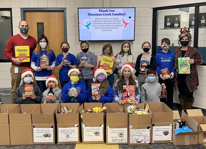 Thornton Creek Elementary School students collected close to 700 food items that were donated to Northville Civic Concern.