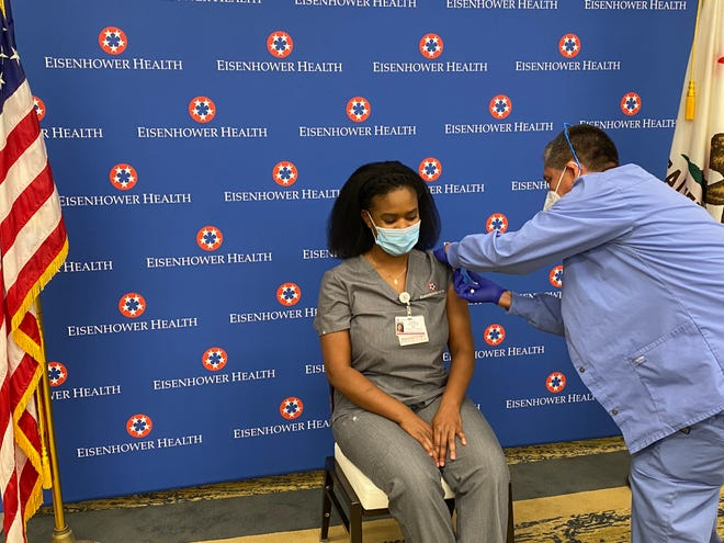 Dr. Jamila Holloway was one of the first healthcare workers at Eisenhower Health in Rancho Mirage to receive a COVID-19 vaccine on Friday, Dec. 18, 2020.