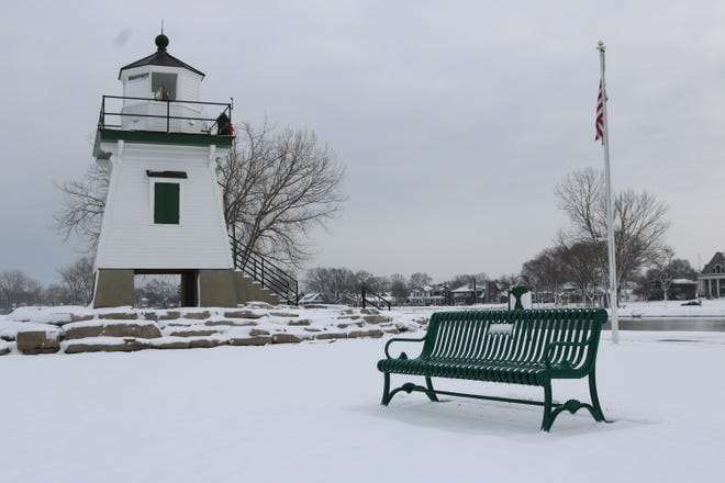 The Port Clinton Lighthouse Conservancy has been installing green steel benches with concrete bases around the walkway and recently purchased seven more.