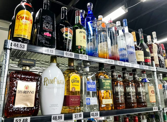 Liquor inside Electric Spirit Shoppe in Port Huron on Dec. 11, 2020.